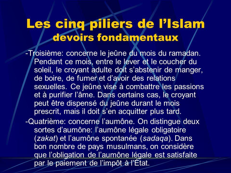 Les cinq piliers de lIslam devoirs fondamentaux -Troisième: concerne le jeûne du mois du ramadan. Pendant ce mois, entre le lever et le coucher du sol