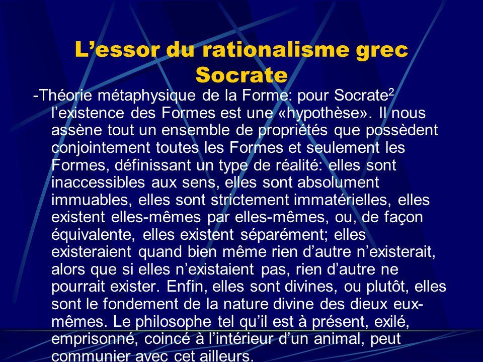 Lessor du rationalisme grec Socrate -Théorie métaphysique de la Forme: pour Socrate 2 lexistence des Formes est une «hypothèse». Il nous assène tout u