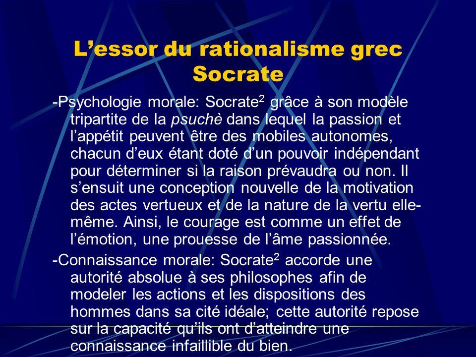 Lessor du rationalisme grec Socrate -Psychologie morale: Socrate 2 grâce à son modèle tripartite de la psuchè dans lequel la passion et lappétit peuve