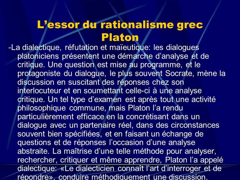 Lessor du rationalisme grec Platon -La dialectique, réfutation et maïeutique: les dialogues platoniciens présentent une démarche danalyse et de critiq