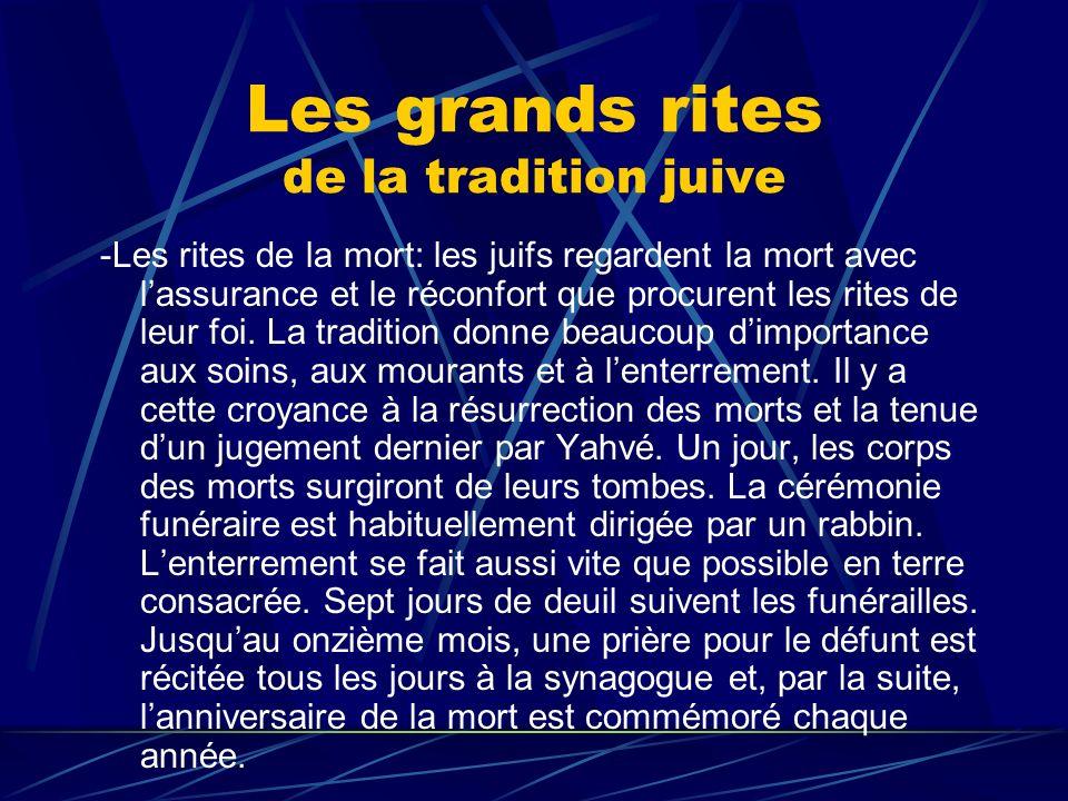 Les grands rites de la tradition juive -Les rites de la mort: les juifs regardent la mort avec lassurance et le réconfort que procurent les rites de l
