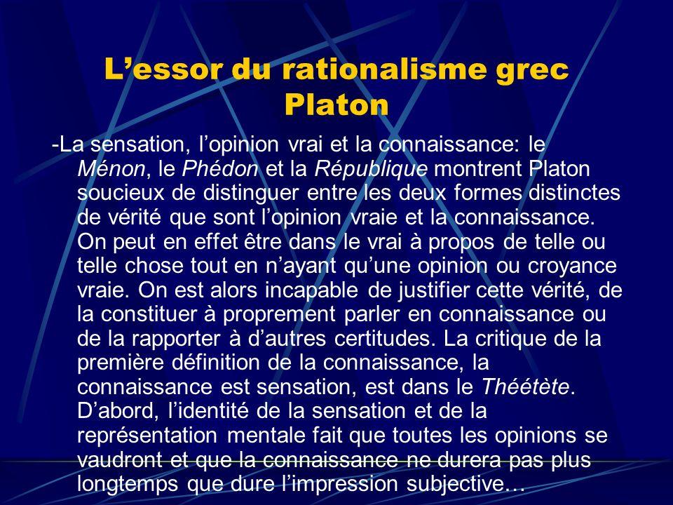 Lessor du rationalisme grec Platon -La sensation, lopinion vrai et la connaissance: le Ménon, le Phédon et la République montrent Platon soucieux de d