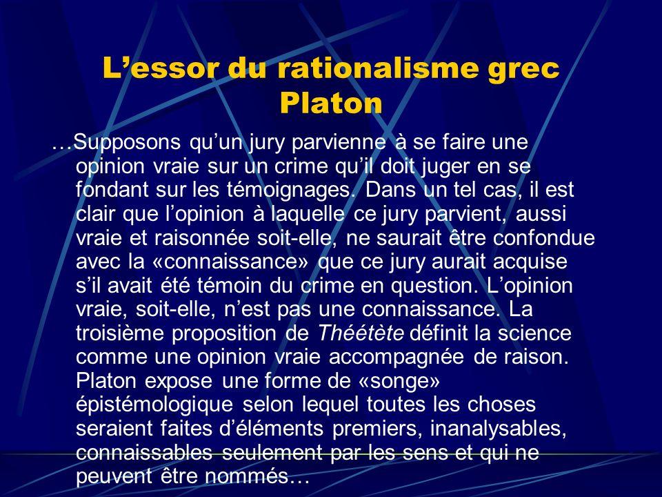Lessor du rationalisme grec Platon …Supposons quun jury parvienne à se faire une opinion vraie sur un crime quil doit juger en se fondant sur les témo
