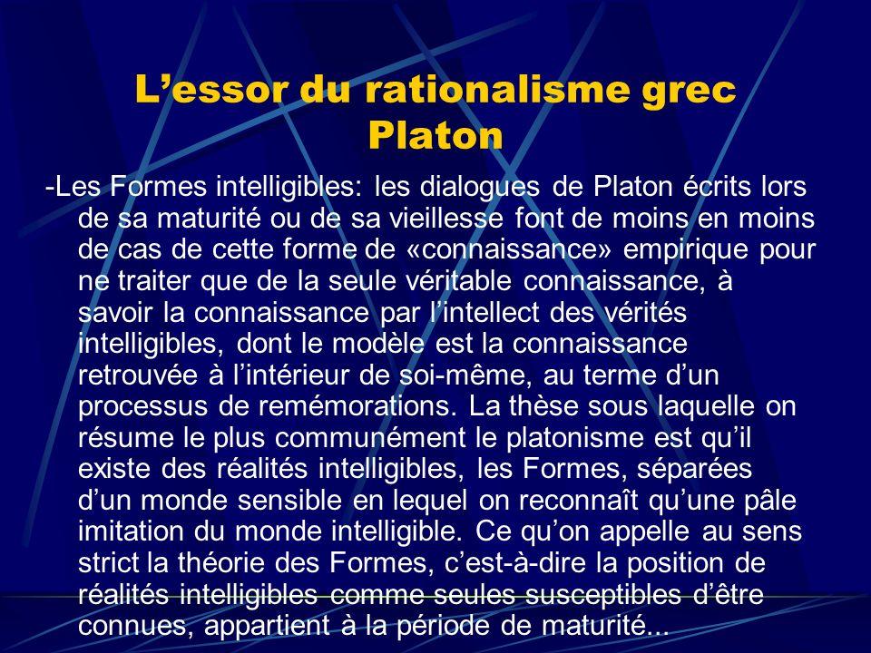 Lessor du rationalisme grec Platon -Les Formes intelligibles: les dialogues de Platon écrits lors de sa maturité ou de sa vieillesse font de moins en