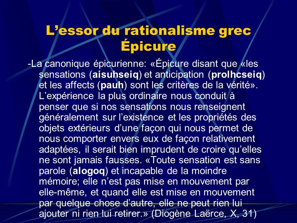Lessor du rationalisme grec Épicure -La canonique épicurienne: «Épicure disant que «les sensations (aisuhseiq) et anticipation (prolhcseiq) et les aff