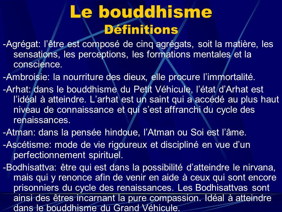 Le bouddhisme Définitions -Agrégat: lêtre est composé de cinq agrégats, soit la matière, les sensations, les perceptions, les formations mentales et l