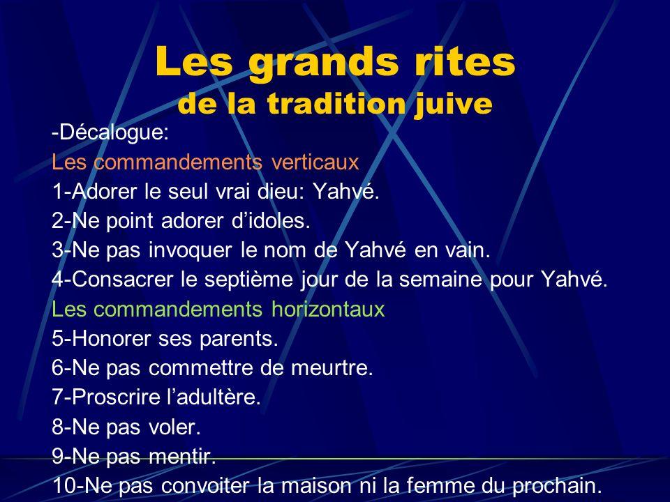 Les grands rites de la tradition juive -Décalogue: Les commandements verticaux 1-Adorer le seul vrai dieu: Yahvé. 2-Ne point adorer didoles. 3-Ne pas
