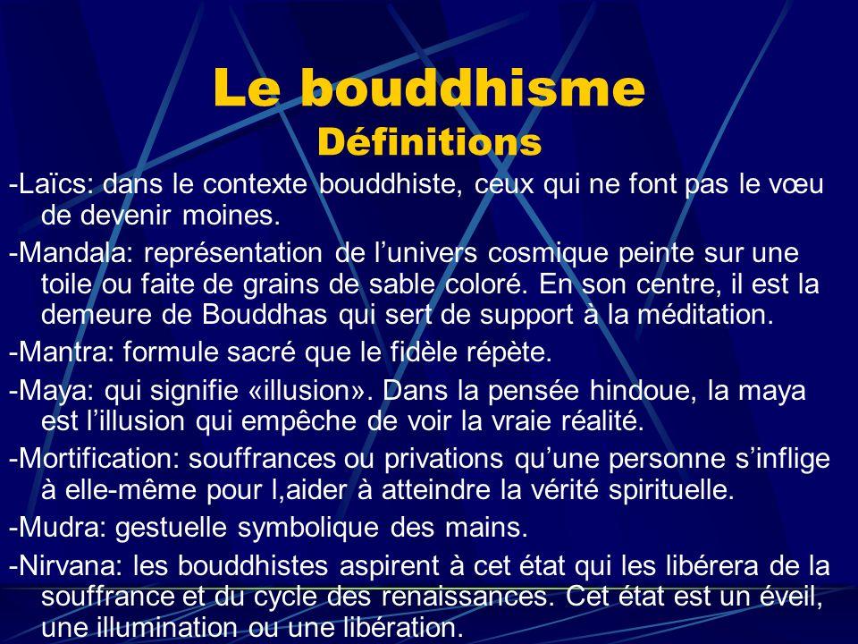 Le bouddhisme Définitions -Laïcs: dans le contexte bouddhiste, ceux qui ne font pas le vœu de devenir moines. -Mandala: représentation de lunivers cos