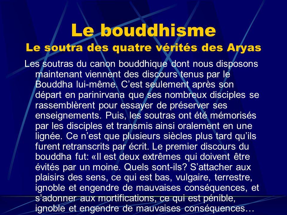 Le bouddhisme Le soutra des quatre vérités des Aryas Les soutras du canon bouddhique dont nous disposons maintenant viennent des discours tenus par le