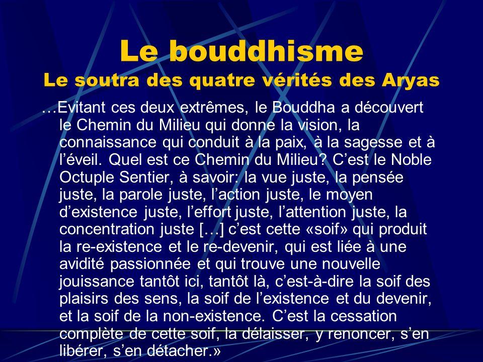 Le bouddhisme Le soutra des quatre vérités des Aryas …Evitant ces deux extrêmes, le Bouddha a découvert le Chemin du Milieu qui donne la vision, la co