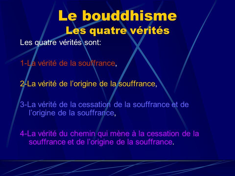 Le bouddhisme Les quatre vérités Les quatre vérités sont: 1-La vérité de la souffrance, 2-La vérité de lorigine de la souffrance, 3-La vérité de la ce