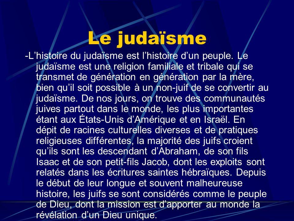 Le judaïsme -Lhistoire du judaïsme est lhistoire dun peuple. Le judaïsme est une religion familiale et tribale qui se transmet de génération en généra