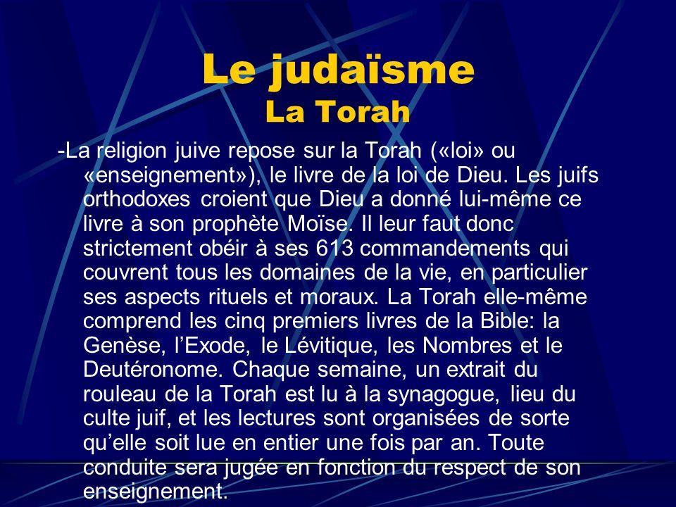 Le judaïsme La Torah -La religion juive repose sur la Torah («loi» ou «enseignement»), le livre de la loi de Dieu. Les juifs orthodoxes croient que Di