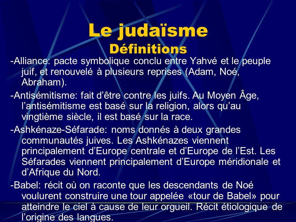 Le judaïsme Définitions -Alliance: pacte symbolique conclu entre Yahvé et le peuple juif, et renouvelé à plusieurs reprises (Adam, Noé, Abraham). -Ant