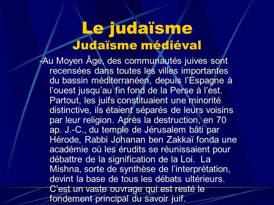 Le judaïsme Judaïsme médiéval -Au Moyen Âge, des communautés juives sont recensées dans toutes les villes importantes du bassin méditerranéen, depuis