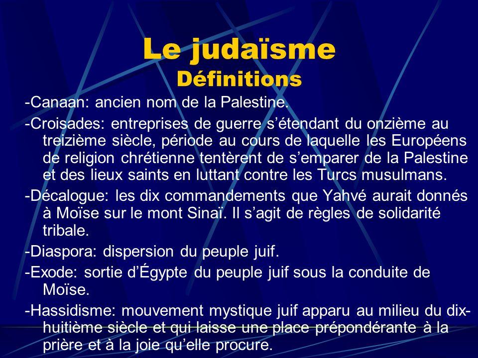 Le judaïsme Définitions -Holocauste ou Shoah: termes qui désignent le génocide des juifs durant la Deuxième Guerre mondiale.