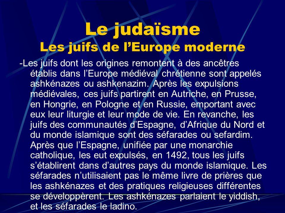 Le judaïsme Les juifs de lEurope moderne -Les juifs dont les origines remontent à des ancêtres établis dans lEurope médiéval chrétienne sont appelés a