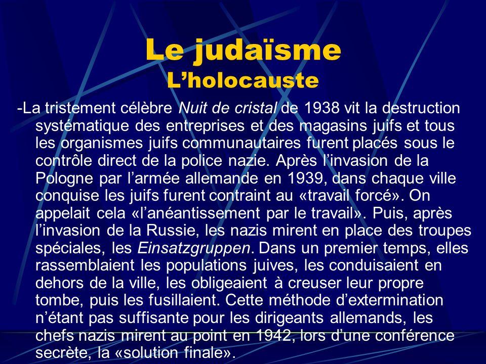 Le judaïsme Lholocauste -La tristement célèbre Nuit de cristal de 1938 vit la destruction systématique des entreprises et des magasins juifs et tous l