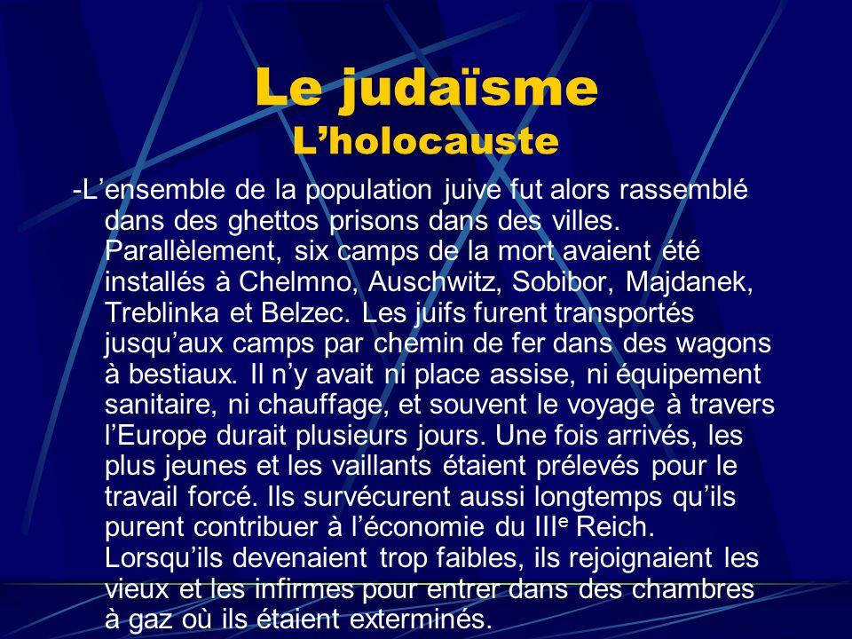 Le judaïsme Lholocauste -Lensemble de la population juive fut alors rassemblé dans des ghettos prisons dans des villes. Parallèlement, six camps de la