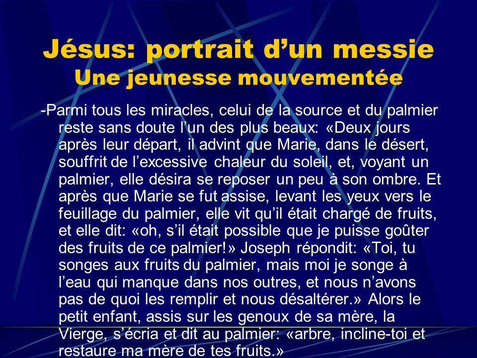 Jésus: portrait dun messie Une jeunesse mouvementée -Parmi tous les miracles, celui de la source et du palmier reste sans doute lun des plus beaux: «D