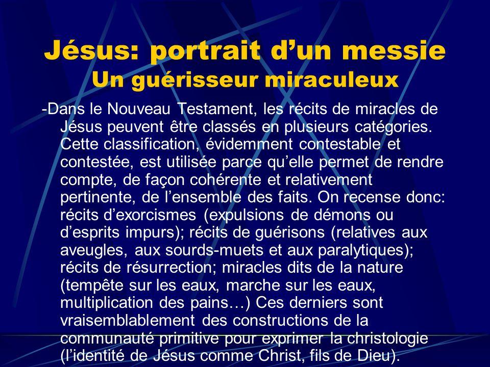 Jésus: portrait dun messie Un guérisseur miraculeux -Dans le Nouveau Testament, les récits de miracles de Jésus peuvent être classés en plusieurs caté