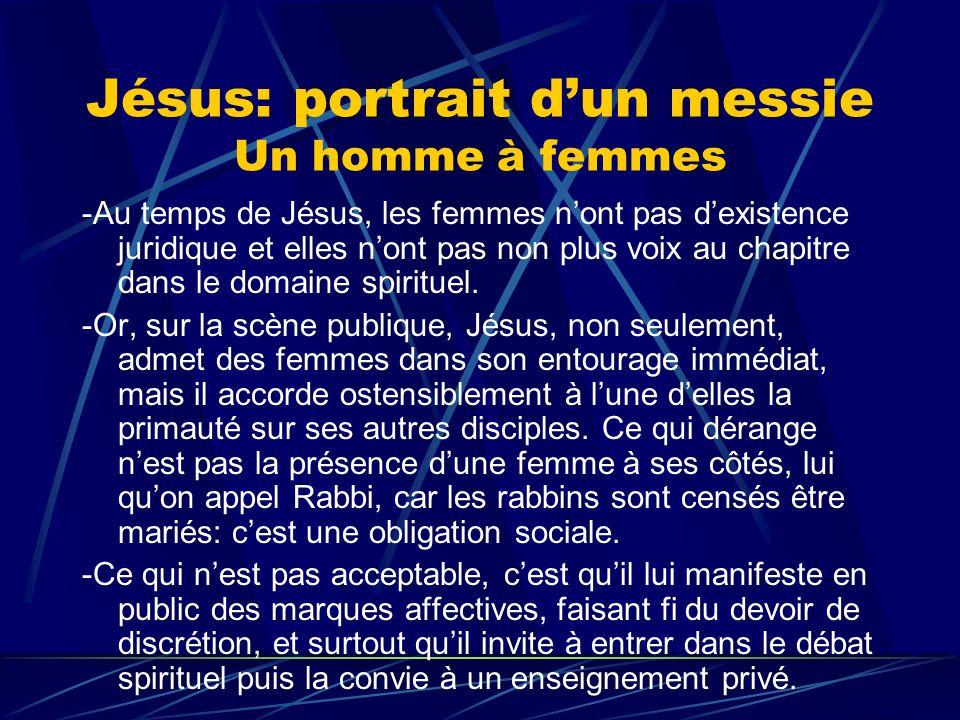 Jésus: portrait dun messie Un homme à femmes -Au temps de Jésus, les femmes nont pas dexistence juridique et elles nont pas non plus voix au chapitre