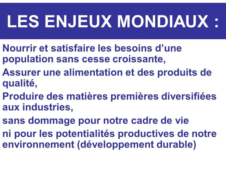 LES ENJEUX MONDIAUX : Nourrir et satisfaire les besoins dune population sans cesse croissante, Assurer une alimentation et des produits de qualité, Pr