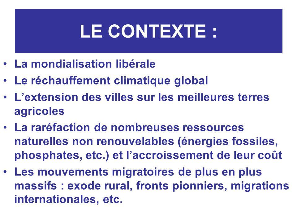 LE CONTEXTE : La mondialisation libérale Le réchauffement climatique global Lextension des villes sur les meilleures terres agricoles La raréfaction d
