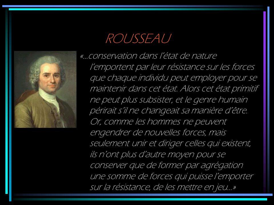 ROUSSEAU «…conservation dans létat de nature lemportent par leur résistance sur les forces que chaque individu peut employer pour se maintenir dans ce