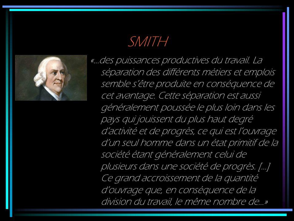 SMITH «…des puissances productives du travail. La séparation des différents métiers et emplois semble sêtre produite en conséquence de cet avantage. C