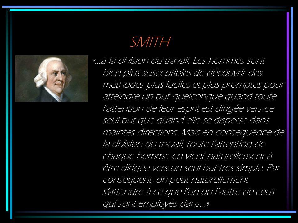 SMITH «…à la division du travail. Les hommes sont bien plus susceptibles de découvrir des méthodes plus faciles et plus promptes pour atteindre un but