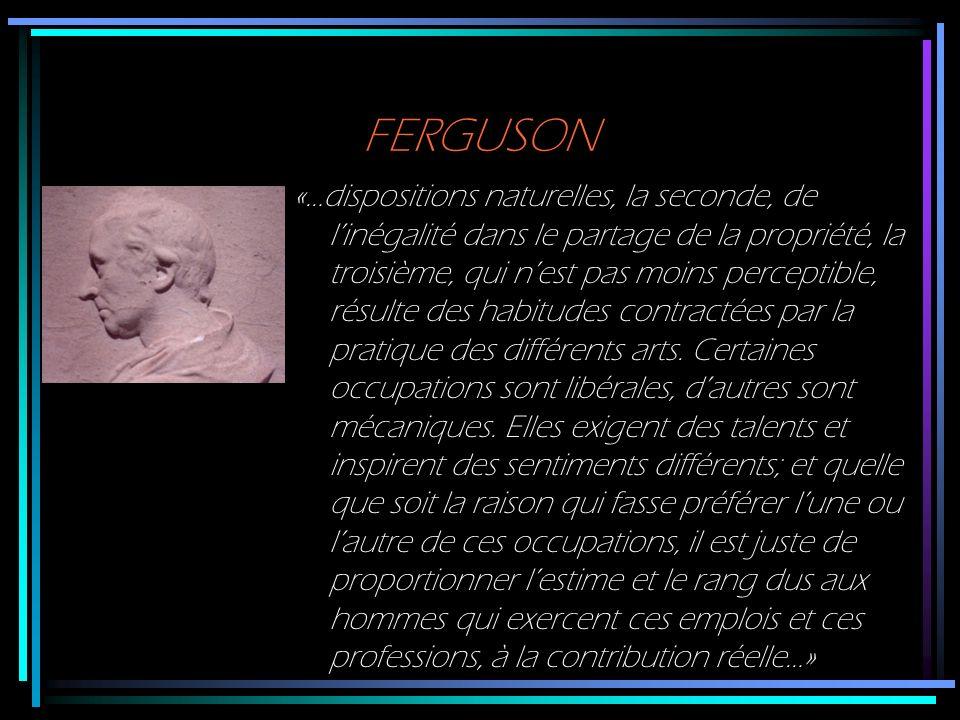 FERGUSON «…dispositions naturelles, la seconde, de linégalité dans le partage de la propriété, la troisième, qui nest pas moins perceptible, résulte d