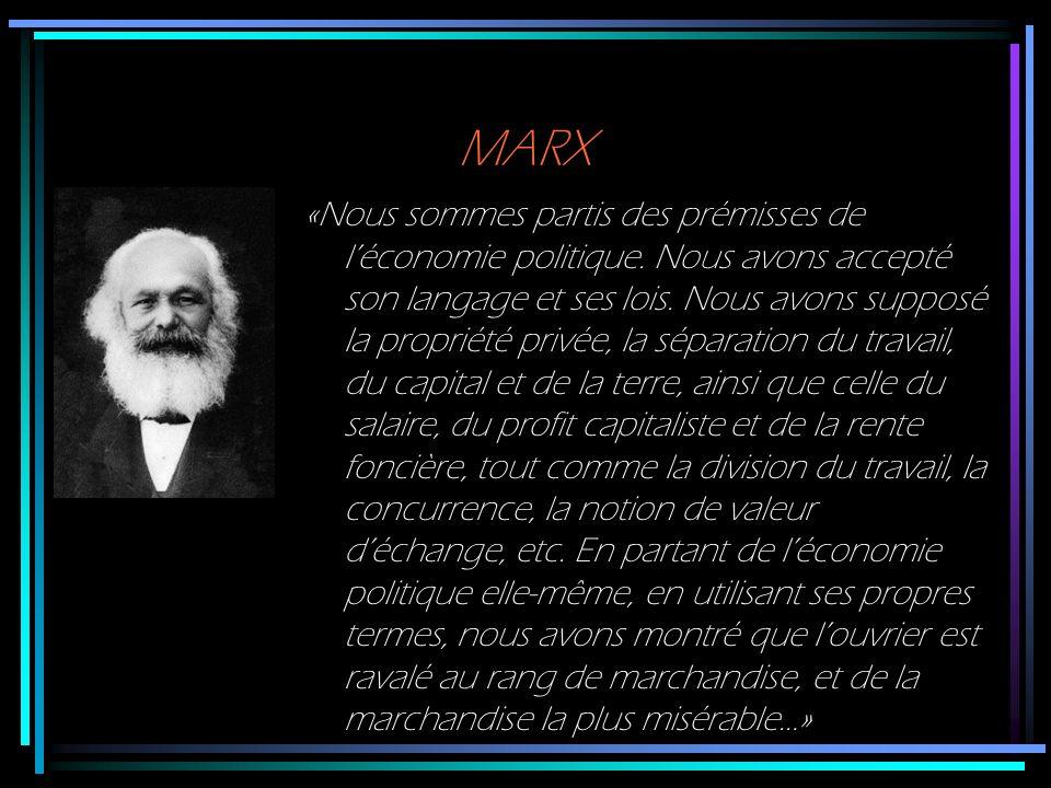 MARX «Nous sommes partis des prémisses de léconomie politique. Nous avons accepté son langage et ses lois. Nous avons supposé la propriété privée, la