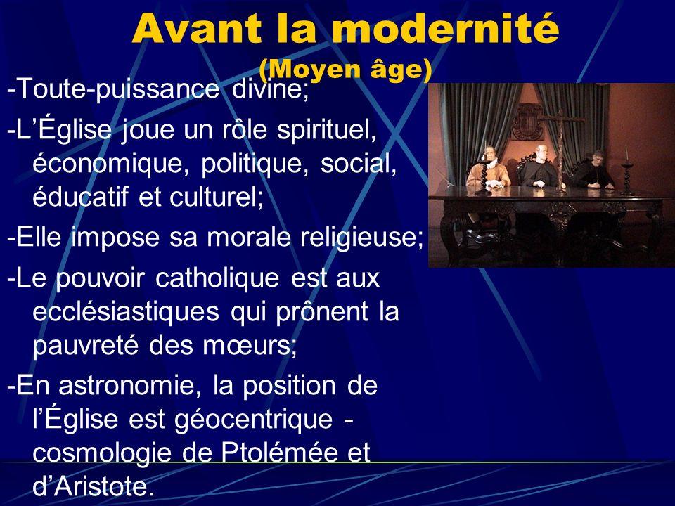 Avant la modernité (Moyen âge) -Toute-puissance divine; -LÉglise joue un rôle spirituel, économique, politique, social, éducatif et culturel; -Elle im