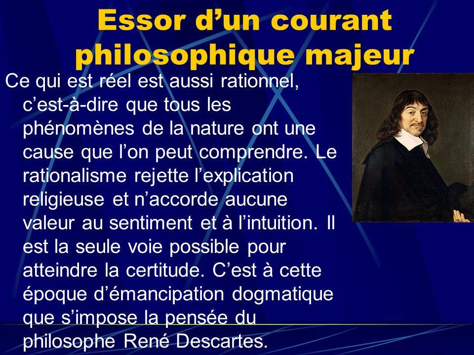 Essor dun courant philosophique majeur Ce qui est réel est aussi rationnel, cest-à-dire que tous les phénomènes de la nature ont une cause que lon peu