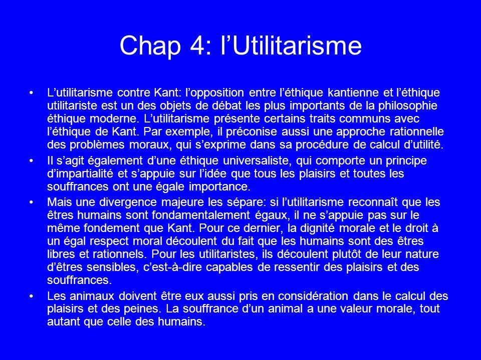 Chap 4: lUtilitarisme Lutilitarisme contre Kant: lopposition entre léthique kantienne et léthique utilitariste est un des objets de débat les plus imp