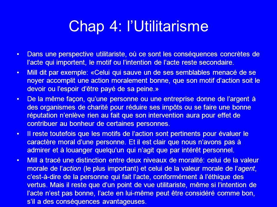 Chap 4: lUtilitarisme Dans une perspective utilitariste, où ce sont les conséquences concrètes de lacte qui importent, le motif ou lintention de lacte