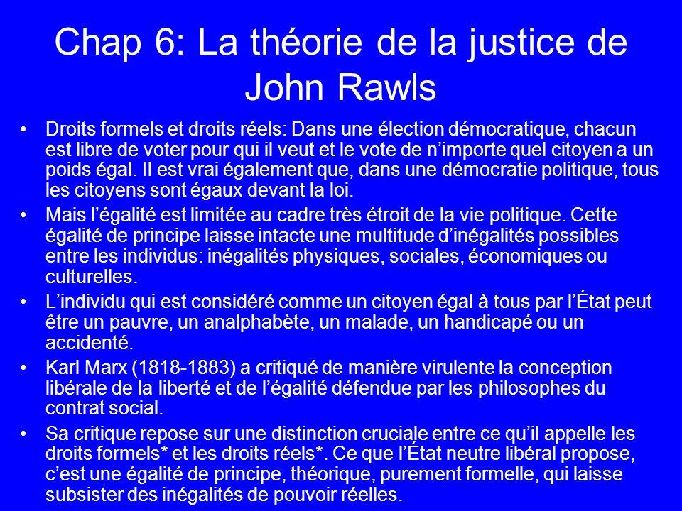 Chap 6: La théorie de la justice de John Rawls Droits formels et droits réels: Dans une élection démocratique, chacun est libre de voter pour qui il v