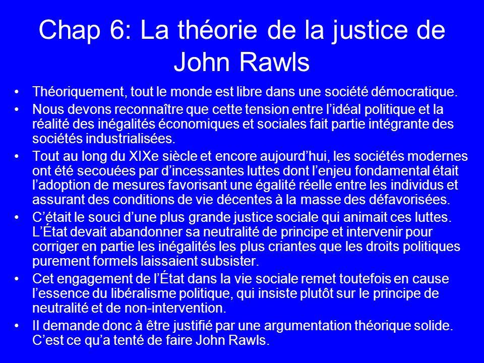 Chap 6: La théorie de la justice de John Rawls Théoriquement, tout le monde est libre dans une société démocratique. Nous devons reconnaître que cette
