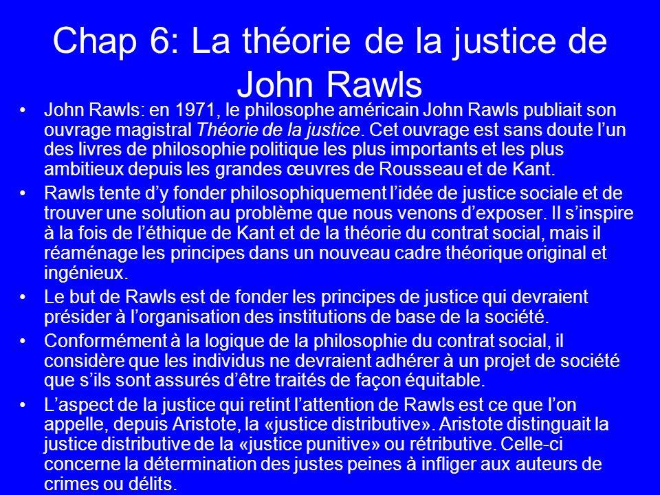 Chap 6: La théorie de la justice de John Rawls John Rawls: en 1971, le philosophe américain John Rawls publiait son ouvrage magistral Théorie de la ju
