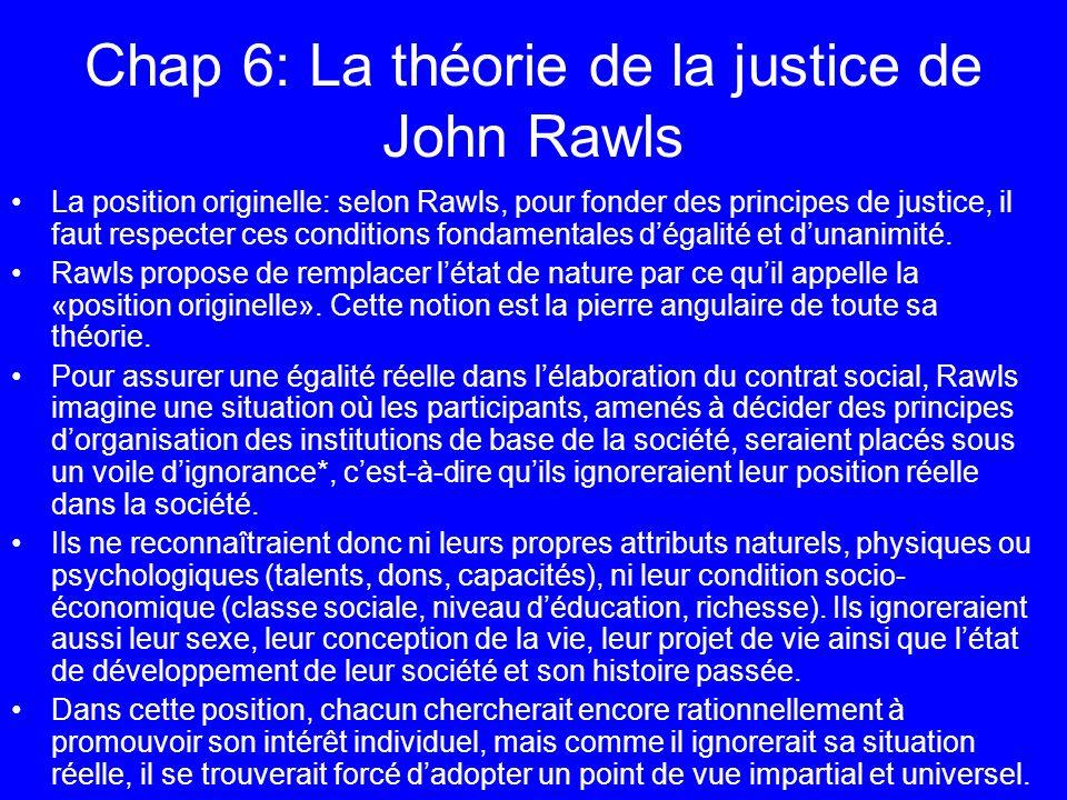 Chap 6: La théorie de la justice de John Rawls La position originelle: selon Rawls, pour fonder des principes de justice, il faut respecter ces condit