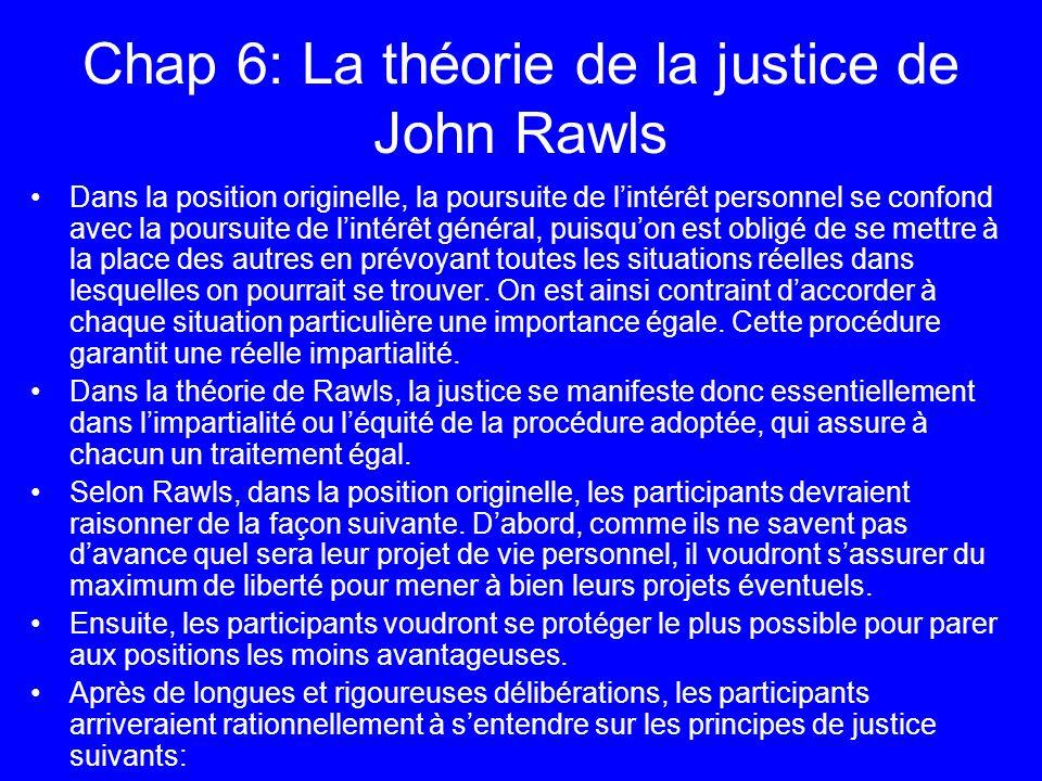 Chap 6: La théorie de la justice de John Rawls Dans la position originelle, la poursuite de lintérêt personnel se confond avec la poursuite de lintérê