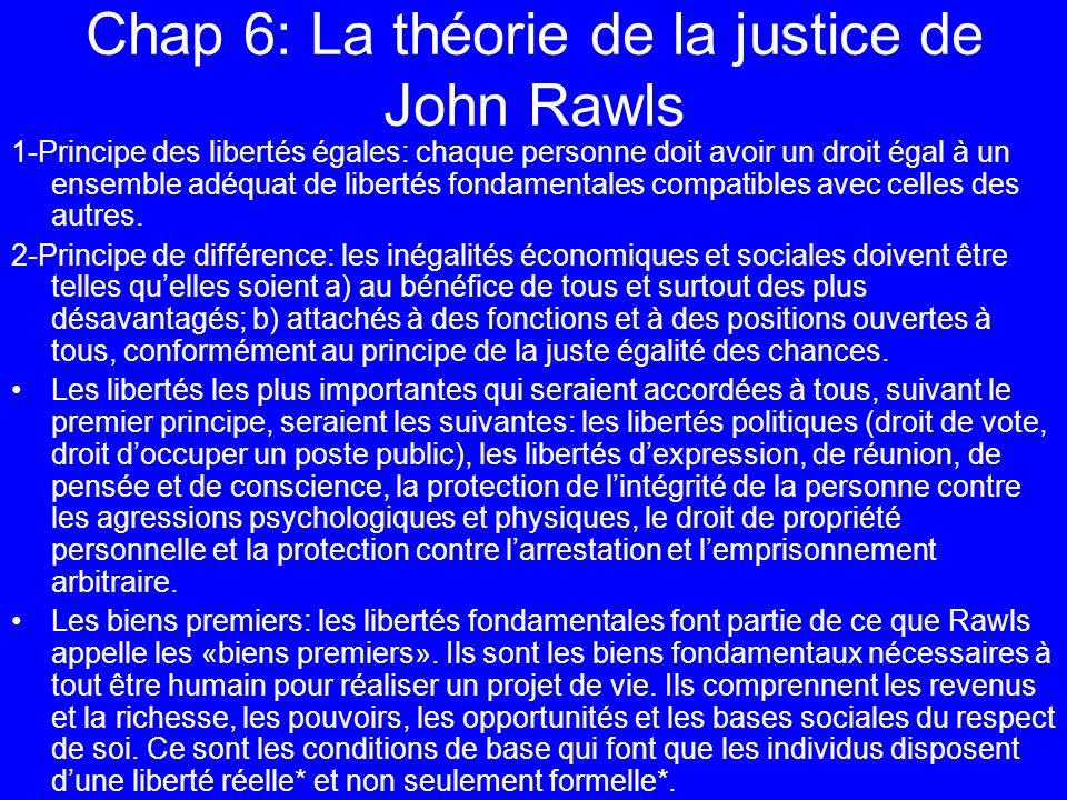 Chap 6: La théorie de la justice de John Rawls 1-Principe des libertés égales: chaque personne doit avoir un droit égal à un ensemble adéquat de liber