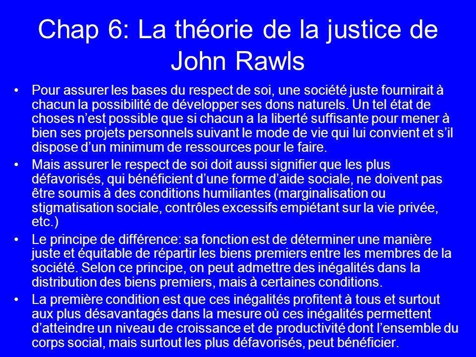 Chap 6: La théorie de la justice de John Rawls Pour assurer les bases du respect de soi, une société juste fournirait à chacun la possibilité de dével