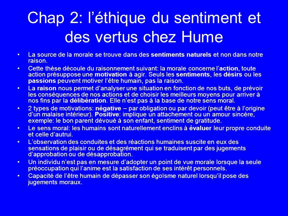 Chap 2: léthique du sentiment et des vertus chez Hume La source de la morale se trouve dans des sentiments naturels et non dans notre raison. Cette th