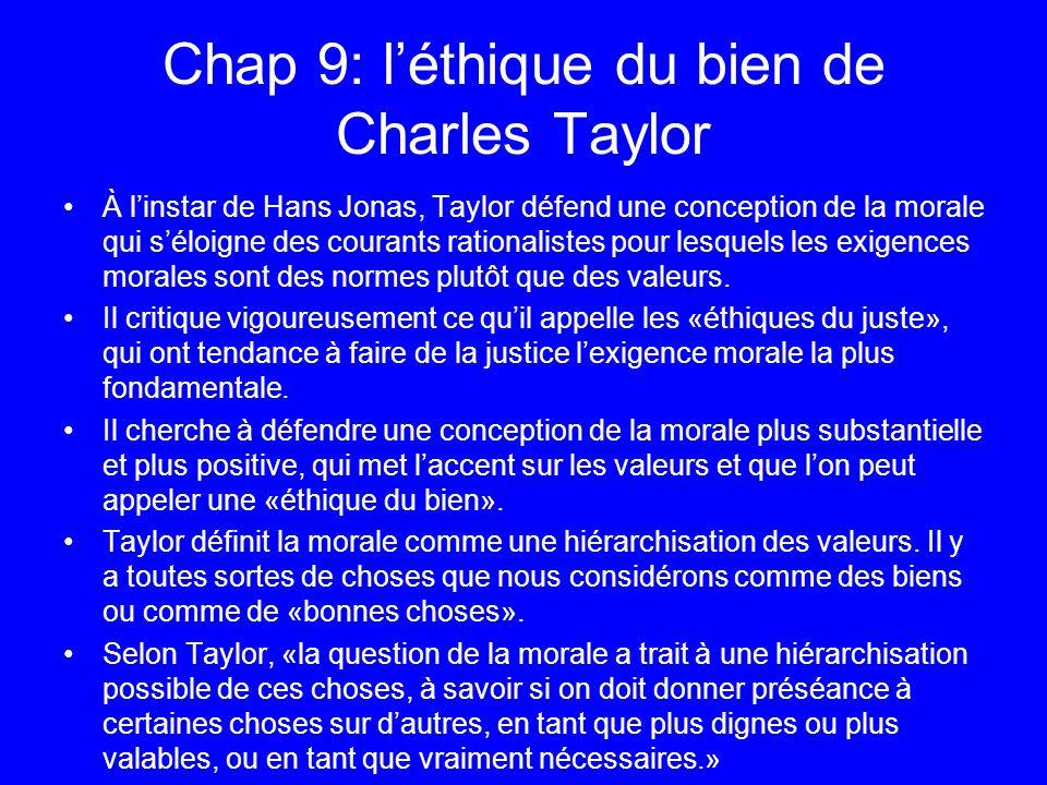 Chap 9: léthique du bien de Charles Taylor À linstar de Hans Jonas, Taylor défend une conception de la morale qui séloigne des courants rationalistes