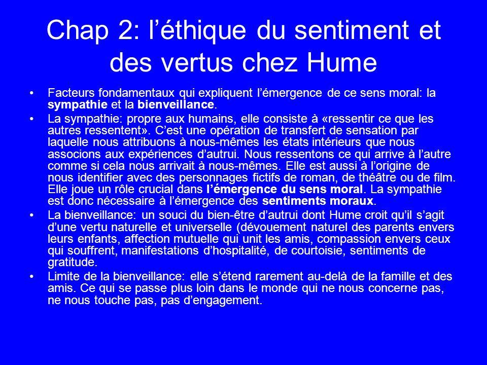 Chap 2: léthique du sentiment et des vertus chez Hume Facteurs fondamentaux qui expliquent lémergence de ce sens moral: la sympathie et la bienveillan