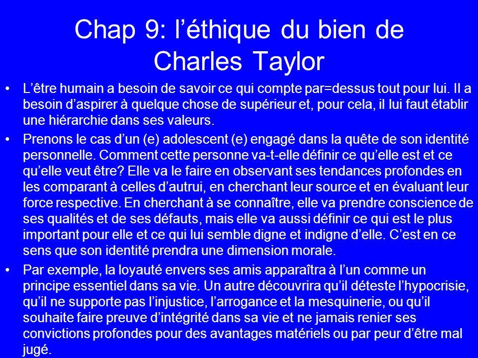 Chap 9: léthique du bien de Charles Taylor Lêtre humain a besoin de savoir ce qui compte par=dessus tout pour lui. Il a besoin daspirer à quelque chos