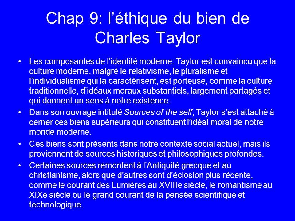 Chap 9: léthique du bien de Charles Taylor Les composantes de lidentité moderne: Taylor est convaincu que la culture moderne, malgré le relativisme, l