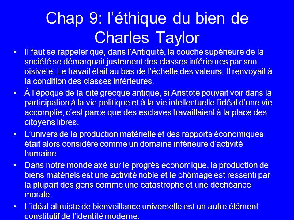 Chap 9: léthique du bien de Charles Taylor Il faut se rappeler que, dans lAntiquité, la couche supérieure de la société se démarquait justement des cl